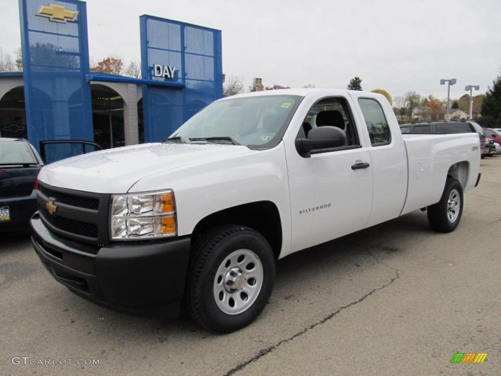 2012 Silverado 1500 Work Truck Extended Cab 4x4 - Summit White / Dark Titanium photo #1