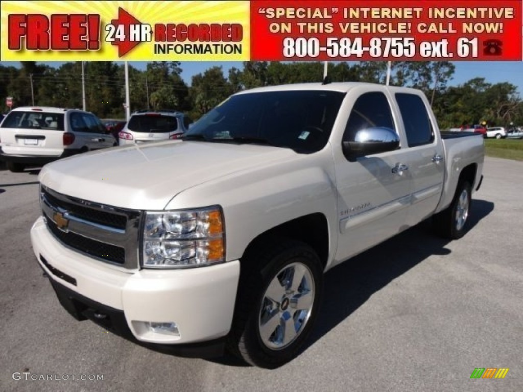2011 Silverado 1500 LTZ Crew Cab - White Diamond Tricoat / Ebony photo #1