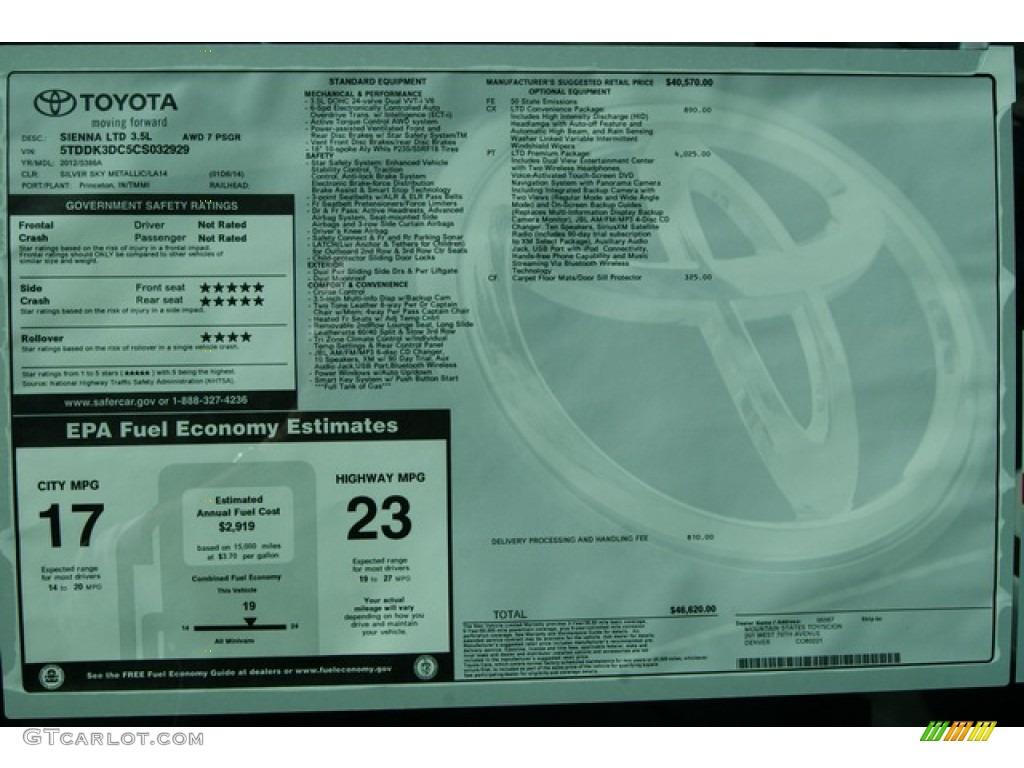 2012 Sienna Limited AWD - Silver Sky Metallic / Light Gray photo #20
