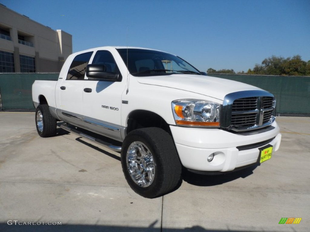 2006 Ram 1500 Laramie Mega Cab 4x4 - Bright White / Medium Slate Gray photo #1
