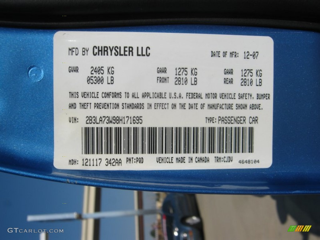 2008 Dodge Charger Srt 8 Super Bee Color Code Photos