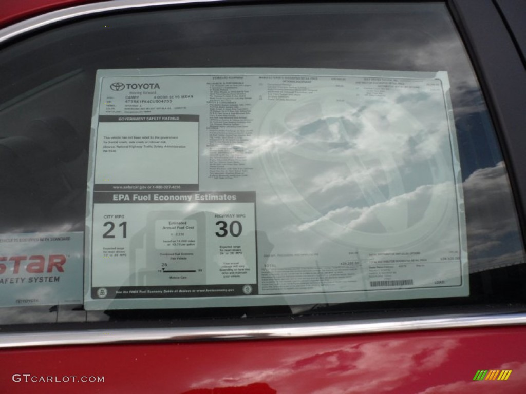 2012 toyota camry se v6 window sticker photo 56002624 for 1995 toyota camry window regulator