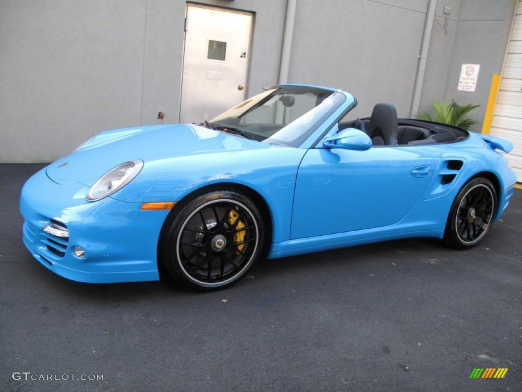 Bright colored cars for sale - 2012 911 Turbo S Cabriolet Paint To Sample Bright Blue Black Photo 11