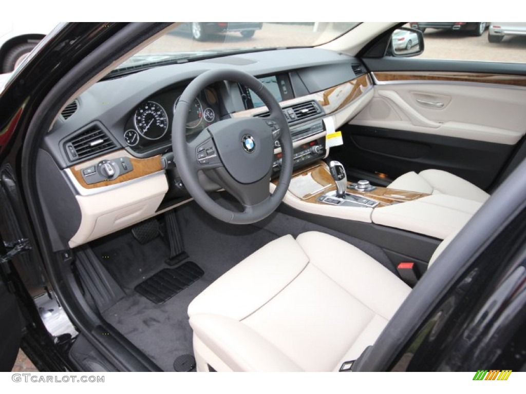 Oyster Black Interior 2012 BMW 5 Series 528i Sedan Photo 56195702