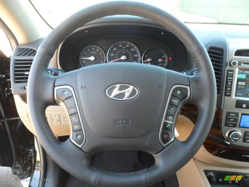 2012 Hyundai Santa Fe Limited Beige Steering Wheel Photo
