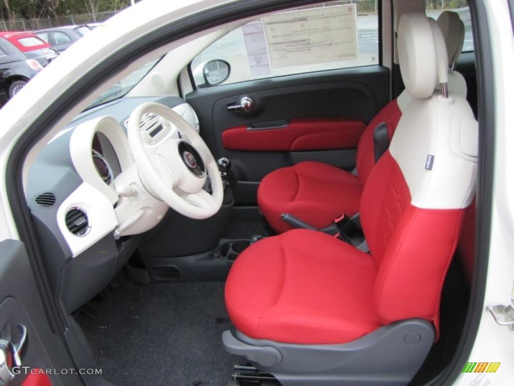 Tessuto Rosso Avorio Red Ivory Interior 2012 Fiat 500 C