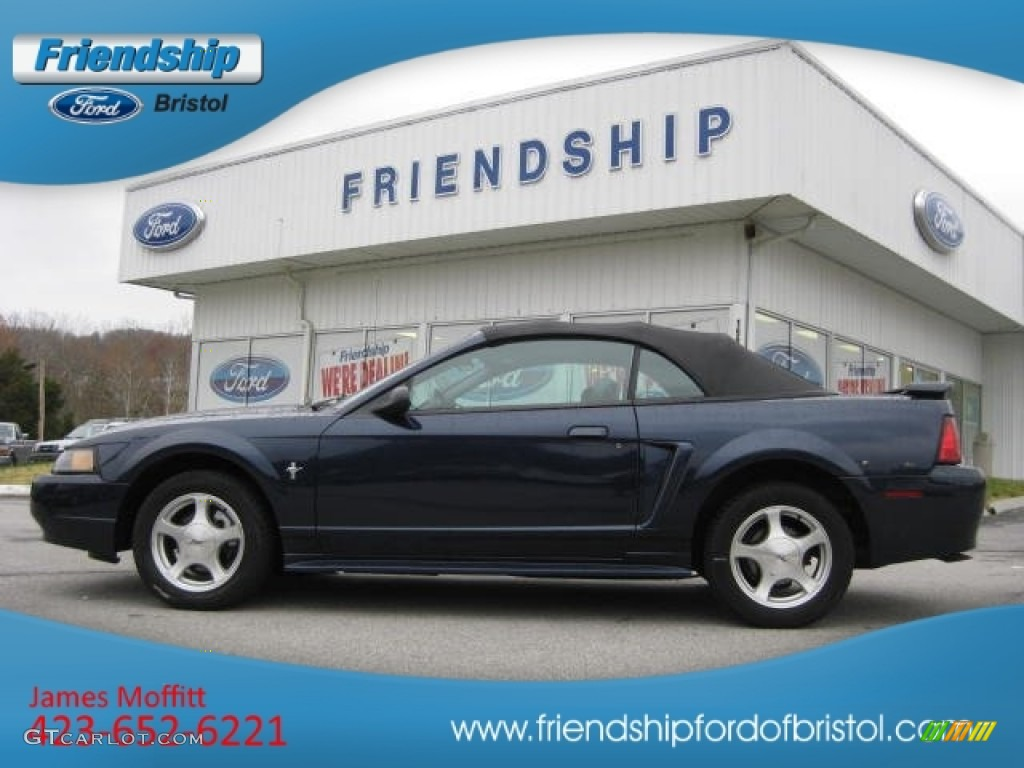 2001 Mustang V6 Convertible - True Blue Metallic / Medium Graphite photo #1