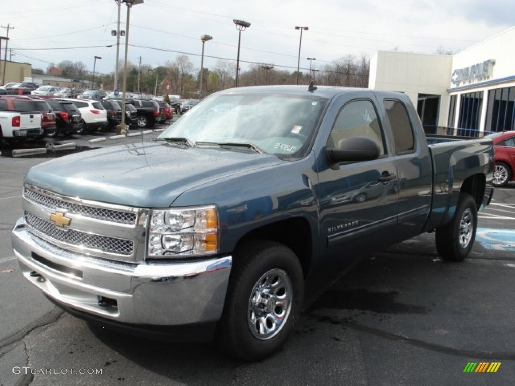 2012 Silverado 1500 LS Extended Cab 4x4 - Blue Granite Metallic / Dark Titanium photo #7