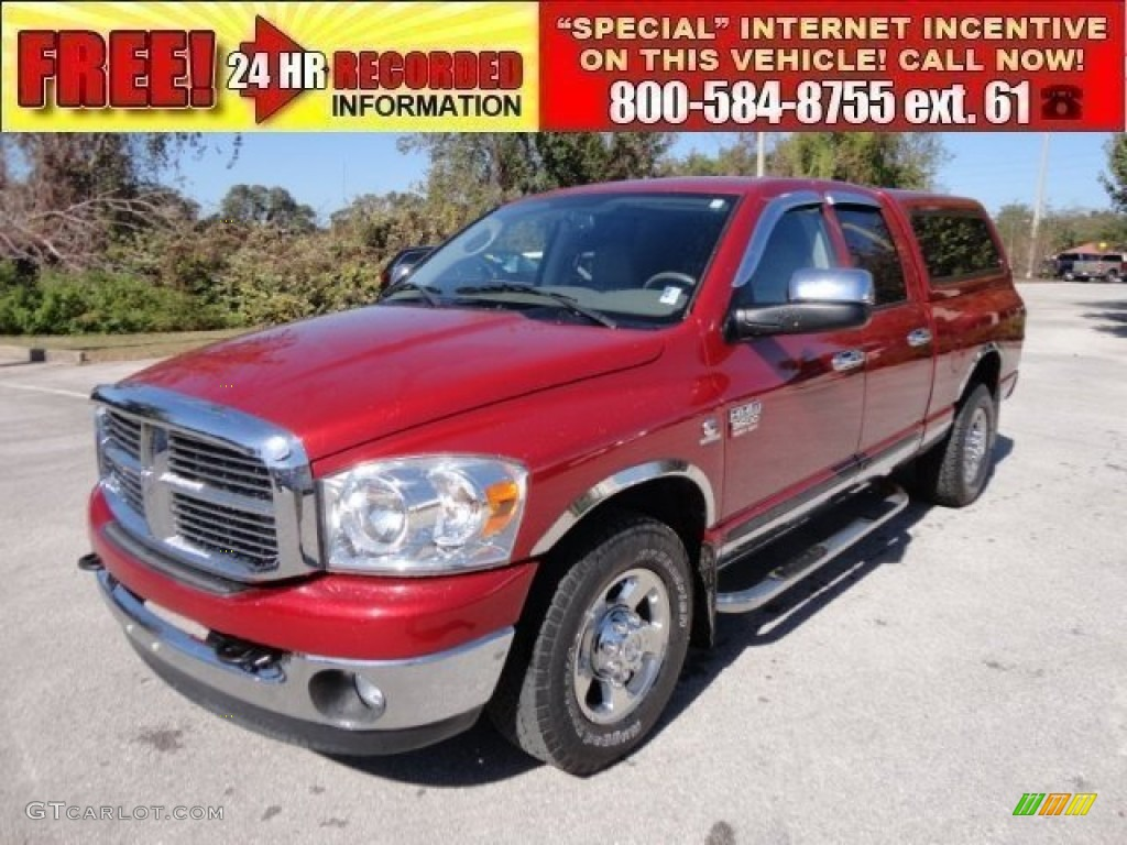 2007 Ram 3500 Laramie Quad Cab - Inferno Red Crystal Pearl / Khaki photo #1