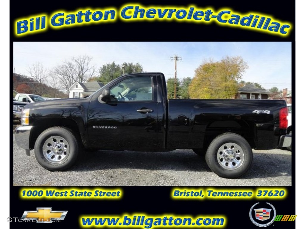 2012 Silverado 1500 Work Truck Regular Cab 4x4 - Black / Dark Titanium photo #1