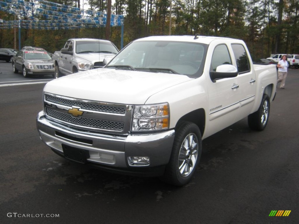 2012 Silverado 1500 LT Crew Cab - White Diamond Tricoat / Light Cashmere/Dark Cashmere photo #1