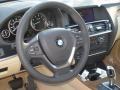 2012 BMW X3 Sand Beige Interior Steering Wheel Photo