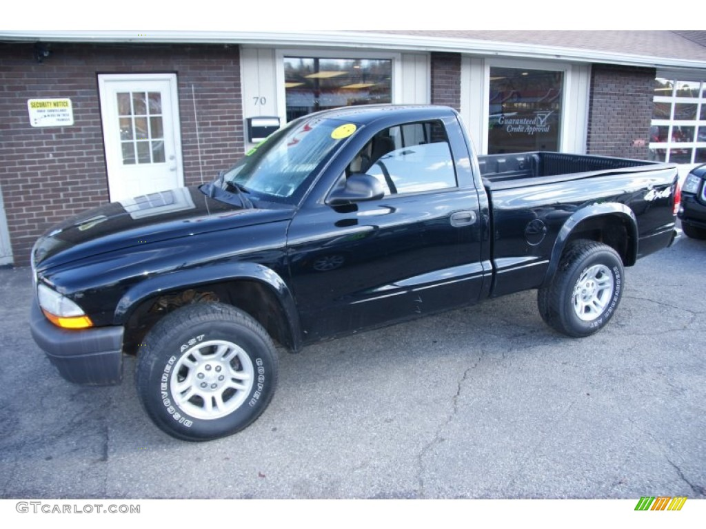 2004 Dakota SXT Regular Cab 4x4 - Black / Dark Slate Gray photo #1