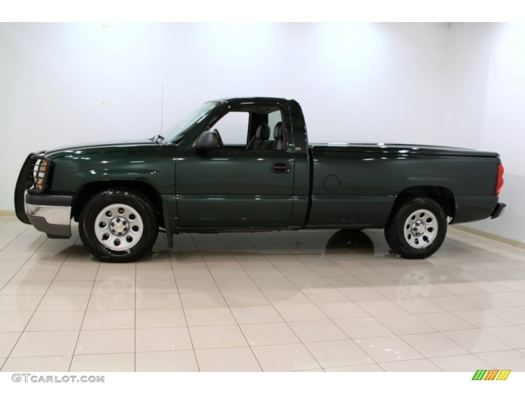 2005 Silverado 1500 Regular Cab - Dark Green Metallic / Dark Charcoal photo #4