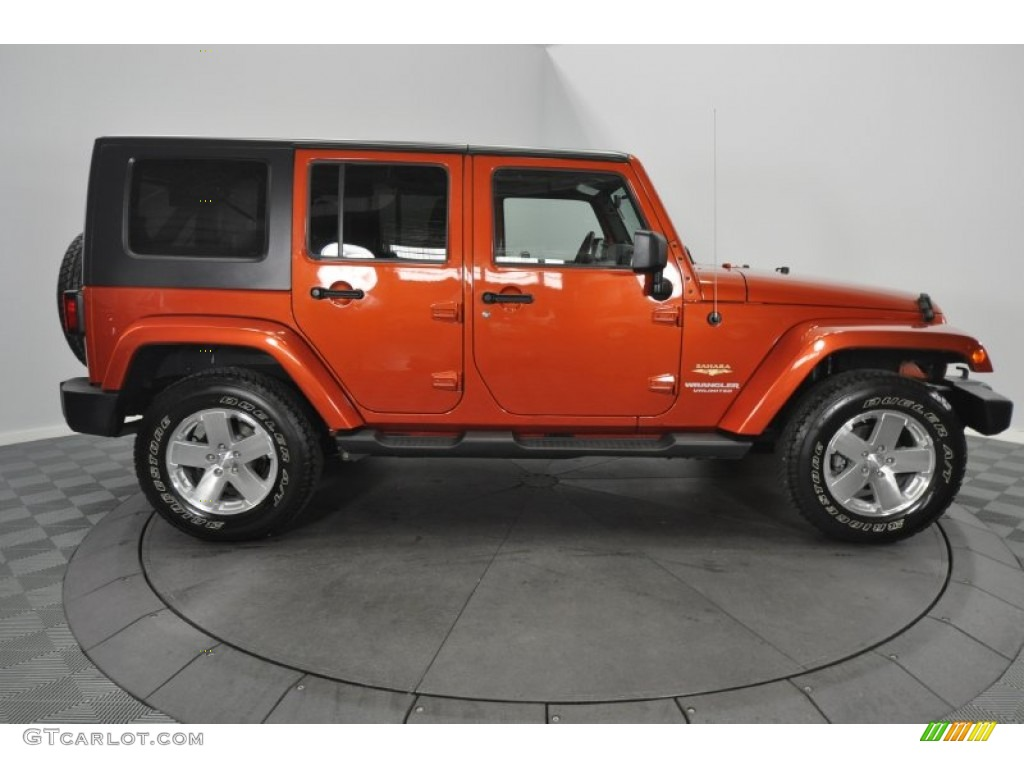 Sunburst Orange Pearl 2009 Jeep Wrangler Unlimited Sahara 4x4 Exterior Photo 56805522