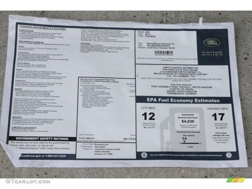 2012 Land Rover LR4 HSE LUX Window Sticker Photo #56808627 ...