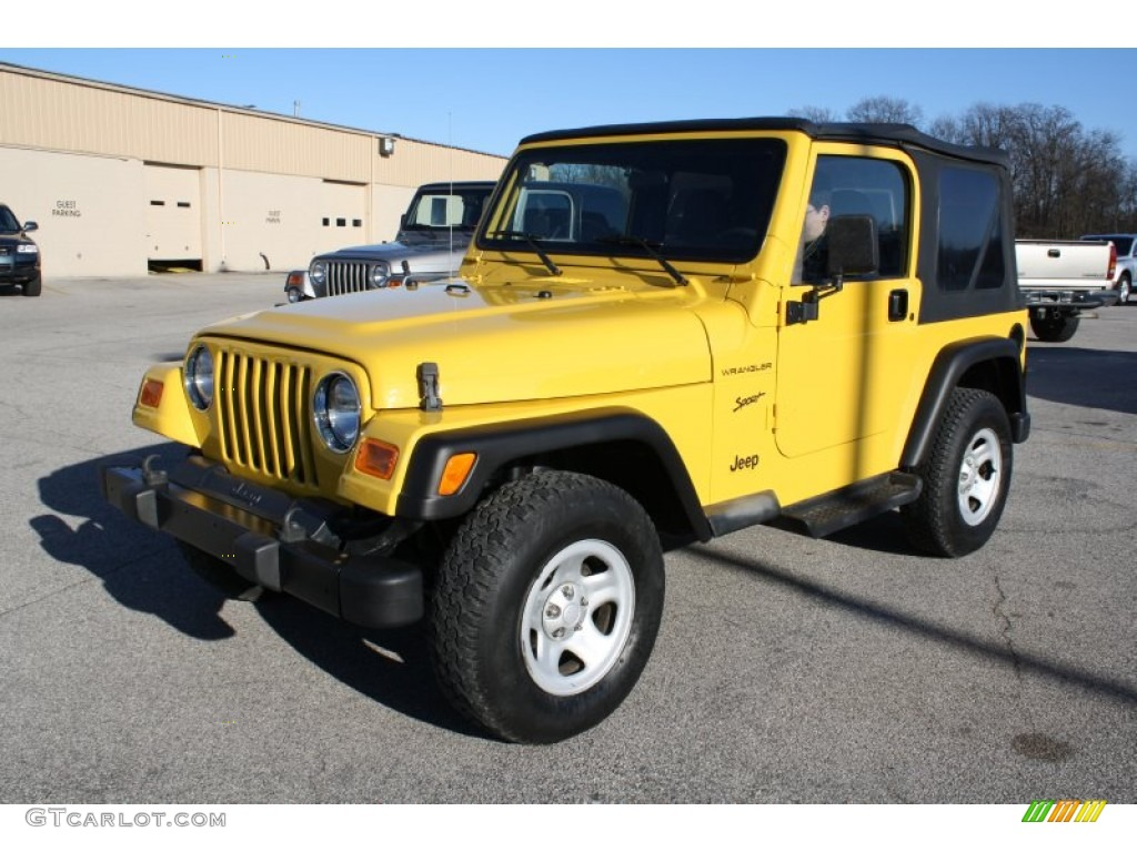 2002 solar yellow jeep wrangler sport 4x4 56874212 photo. Black Bedroom Furniture Sets. Home Design Ideas