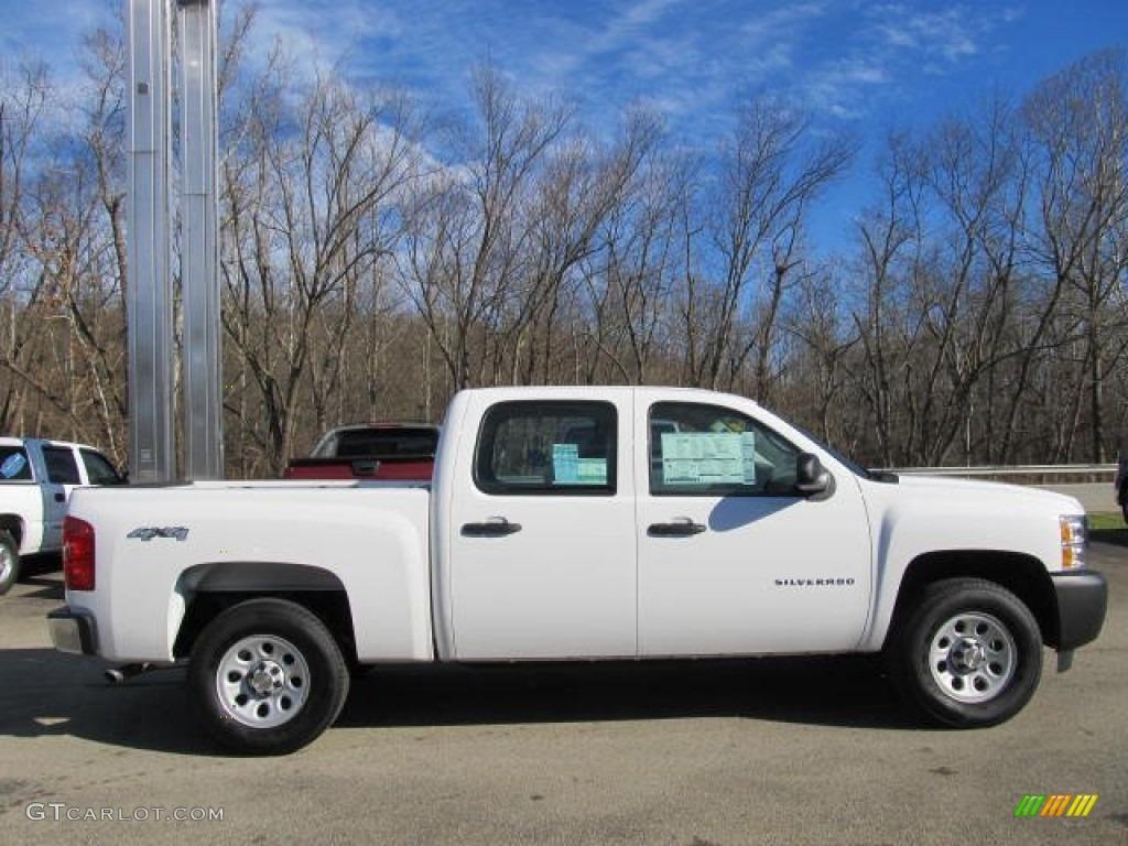 2012 Silverado 1500 Work Truck Crew Cab 4x4 - Summit White / Dark Titanium photo #3