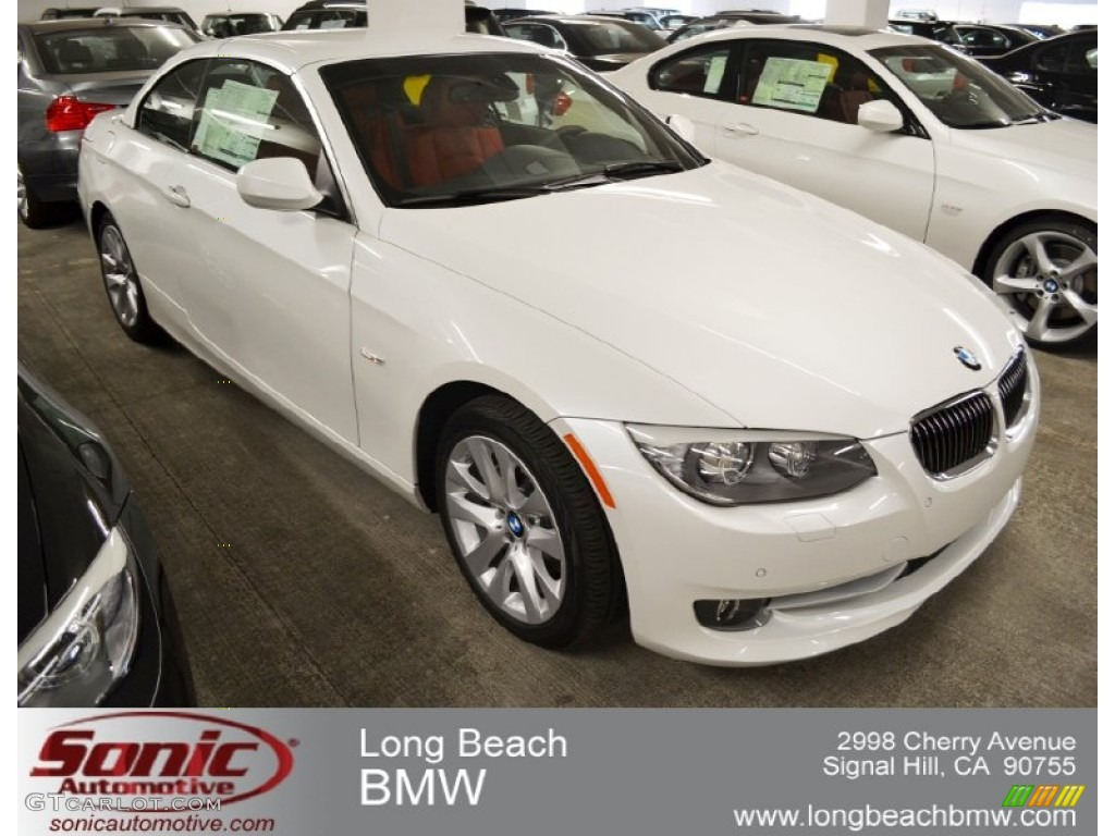 2012 3 series 328i convertible mineral white metallic coral red black photo