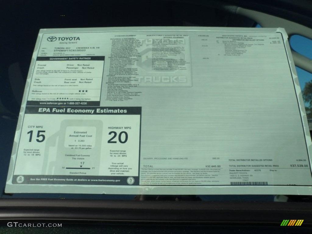 2012 Toyota Tundra Texas Edition CrewMax Window Sticker ...