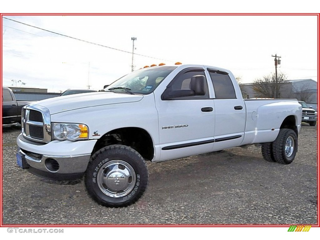 2004 bright white dodge ram 3500 slt quad cab 4x4 dually. Black Bedroom Furniture Sets. Home Design Ideas