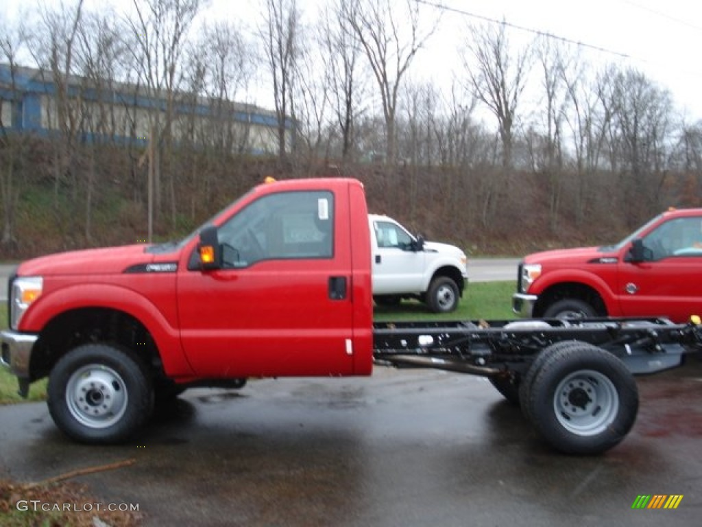 2012 F250 Super Duty XL Regular Cab 4x4 Chassis - Vermillion Red / Steel photo #1