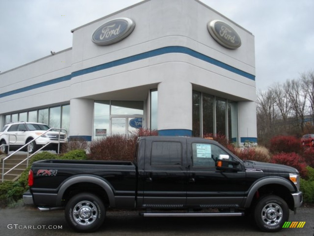 2012 F250 Super Duty Lariat Crew Cab 4x4 - Black / Black photo #1
