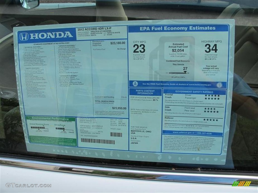 2012 Honda Accord Lx Premium Sedan Window Sticker Photo