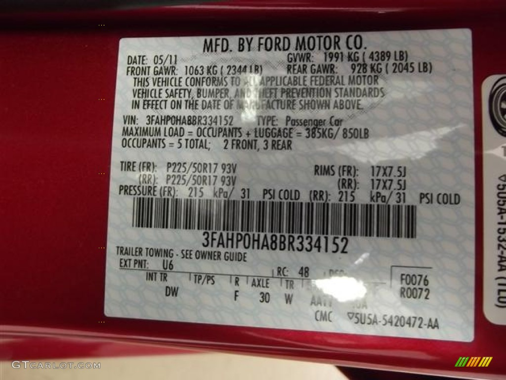 2011 Fusion SE - Red Candy Metallic / Charcoal Black photo #21