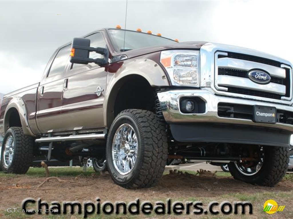 2012 autumn red metallic ford f250 super duty lariat crew cab 4x4 57354965 car. Black Bedroom Furniture Sets. Home Design Ideas
