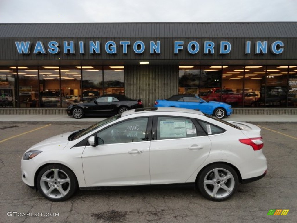 2012 Focus Titanium Sedan - White Platinum Tricoat Metallic / Arctic White Leather photo #1