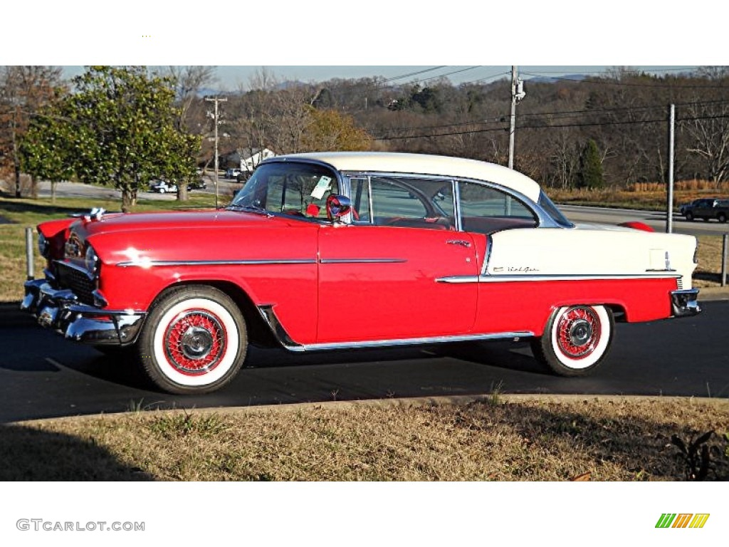 Red white 1955 chevrolet bel air 2 door hard top exterior for 1955 chevy bel air door panels