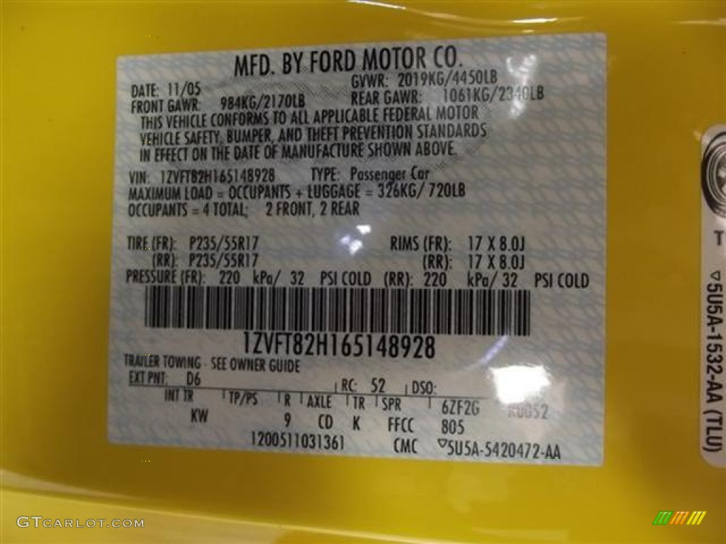 2006 Mustang Color Code D6 for Screaming Yellow Photo #57600456