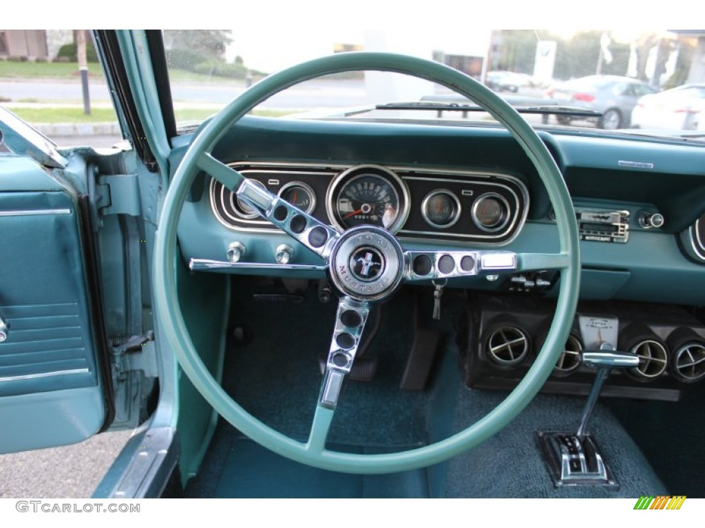 1966 ford mustang coupe turquoise steering wheel photo. Black Bedroom Furniture Sets. Home Design Ideas