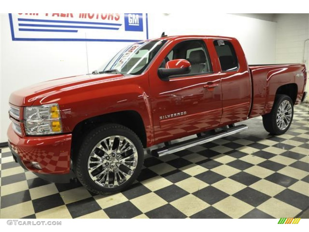 2012 Silverado 1500 LTZ Extended Cab 4x4 - Victory Red / Light Titanium/Dark Titanium photo #1