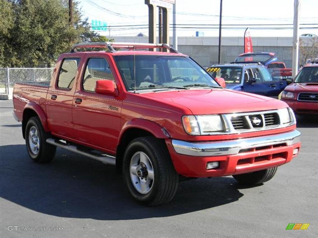 2000 Frontier SE Crew Cab 4x4   Aztec Red / Gray Photo #3