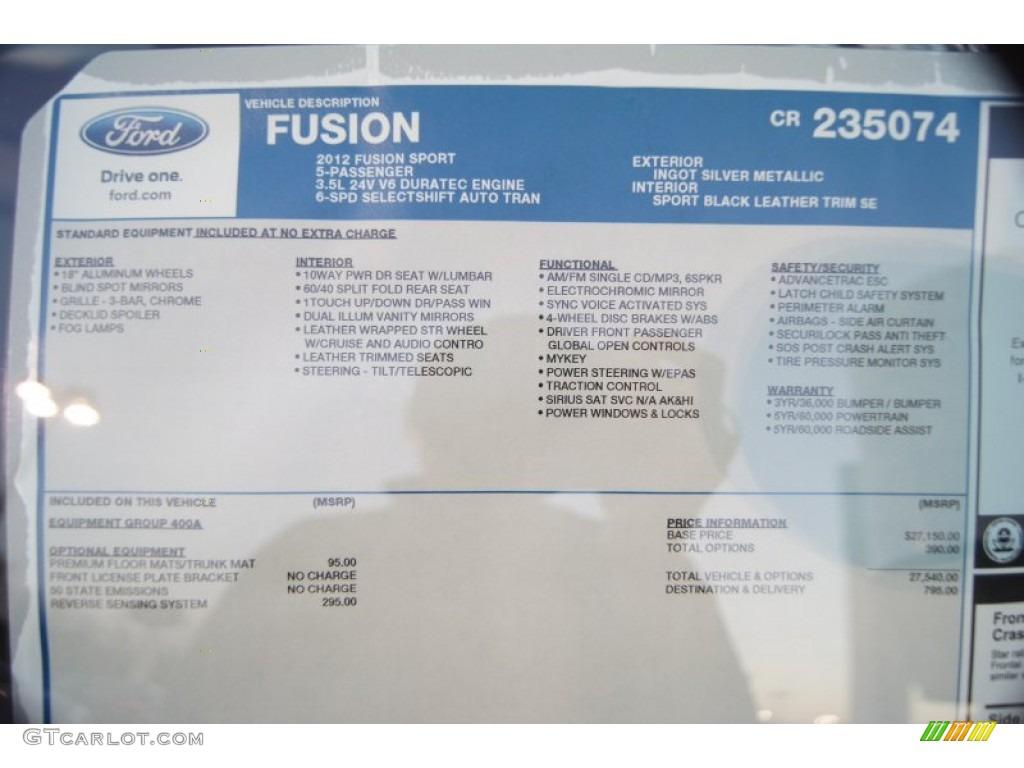 2012 Ford Fusion Sport Window Sticker Photo 57835727
