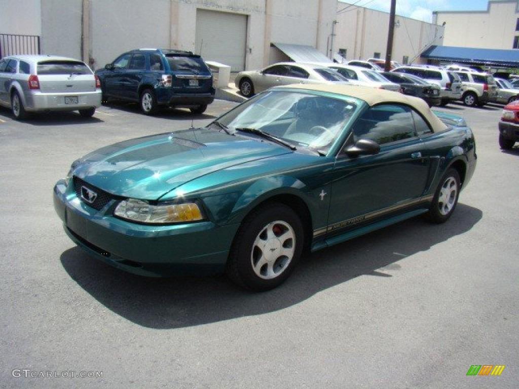 2000 amazon green metallic ford mustang v6 convertible. Black Bedroom Furniture Sets. Home Design Ideas
