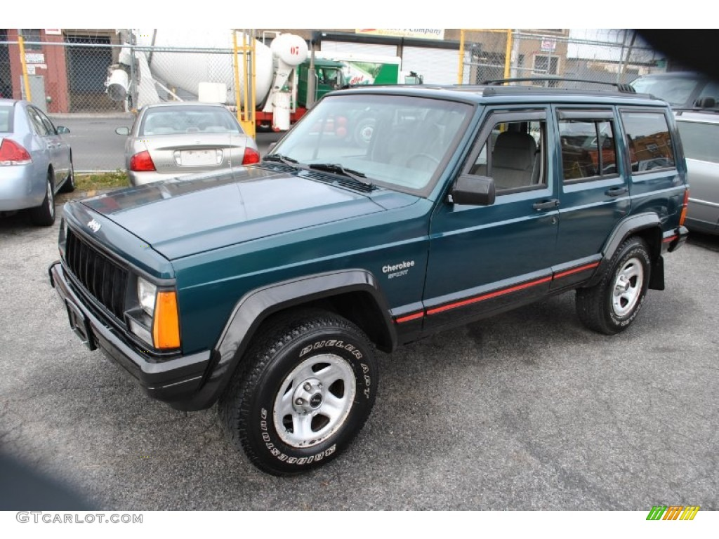 1996 bright jade green jeep cherokee sport 4wd #57877190 photo #4