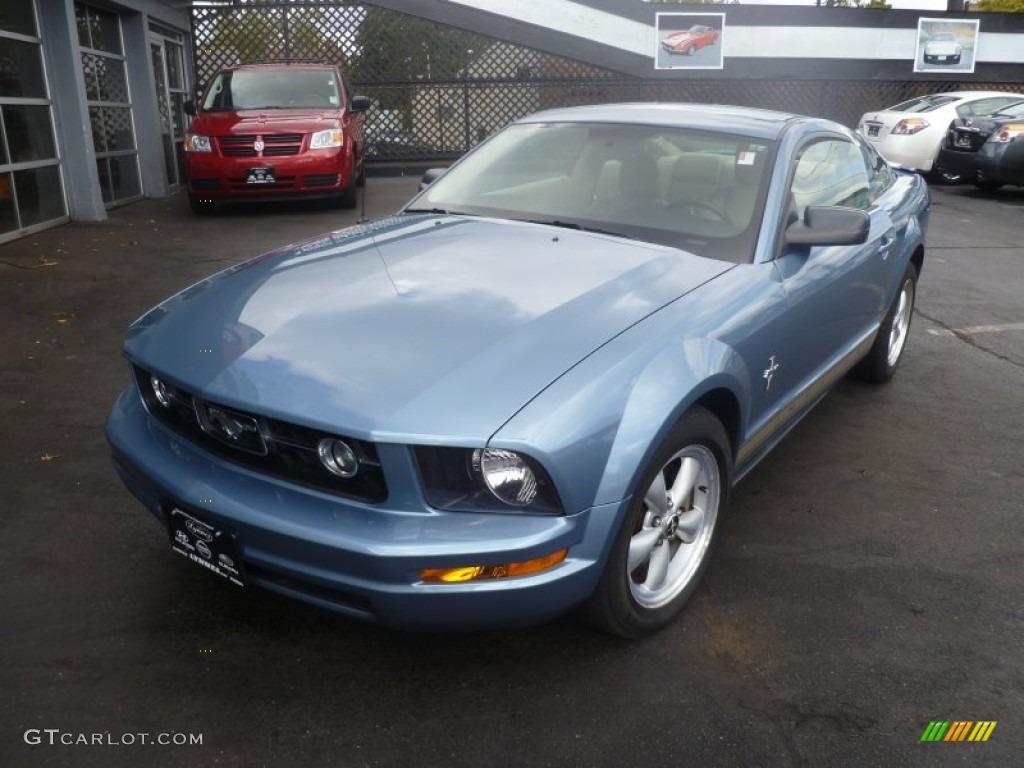 2007 Mustang V6 Premium Coupe - Windveil Blue Metallic / Medium Parchment photo #1