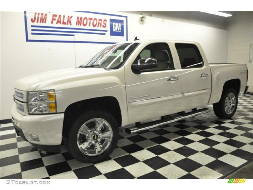2012 Silverado 1500 LTZ Crew Cab 4x4 - White Diamond Tricoat / Light Cashmere/Dark Cashmere photo #1
