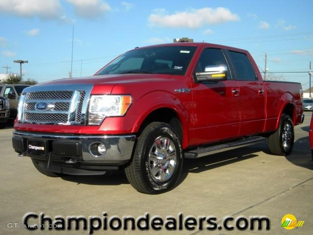 2011 f150 lariat supercrew 4x4 red candy metallic black photo 1