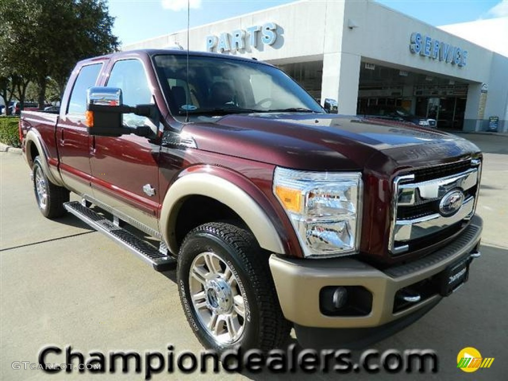 2011 royal red metallic ford f250 super duty king ranch crew cab 4x4 57872552. Black Bedroom Furniture Sets. Home Design Ideas