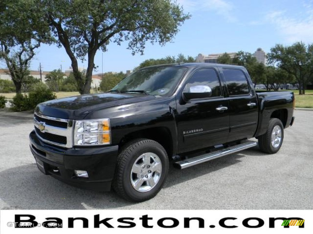 2011 Silverado 1500 LTZ Crew Cab - Black / Light Cashmere/Ebony photo #1