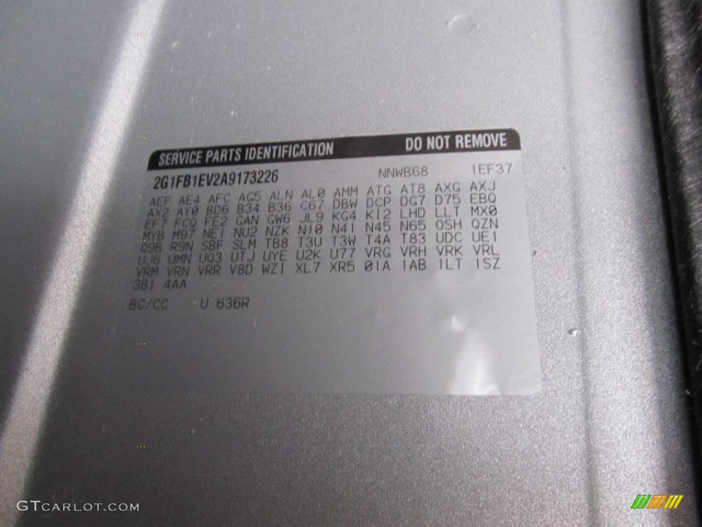2010 Camaro Color Code 636r For Silver Ice Metallic Photo