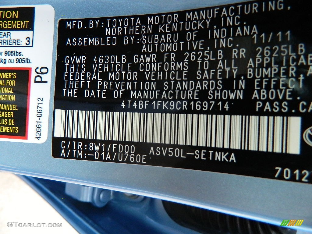 2012 Camry Color Code 8w1 For Clearwater Blue Metallic