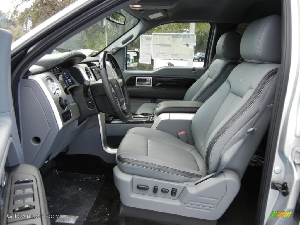 Platinum steel gray black leather interior 2012 ford f150 platinum supercrew 4x4 photo 58363299