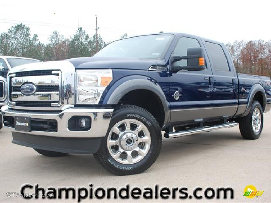 2012 dark blue pearl metallic ford f250 super duty lariat crew cab 4x4 58396615. Black Bedroom Furniture Sets. Home Design Ideas