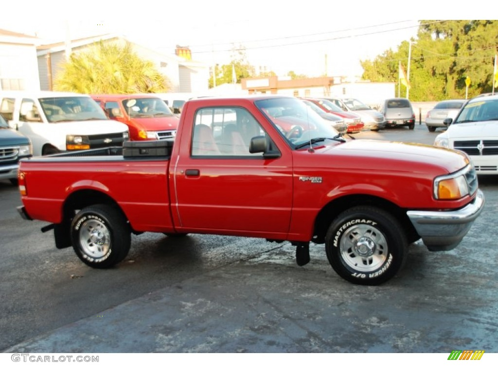 Bright red ford ranger