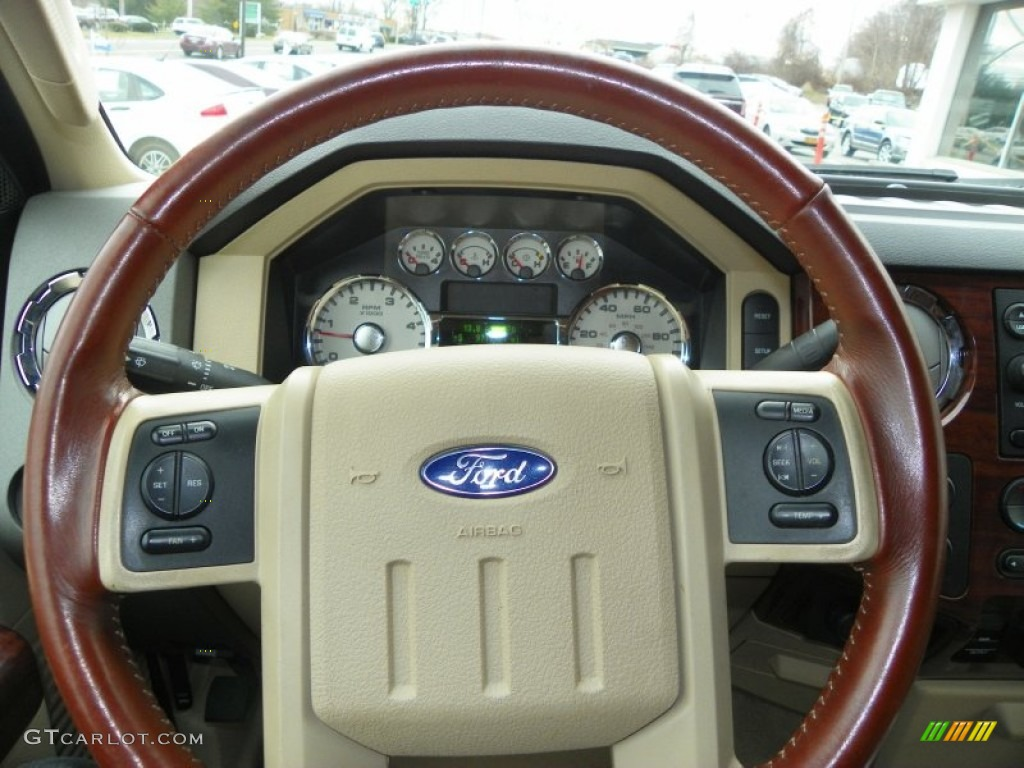 ford  super duty king ranch crew cab  camelchaparral leather steering wheel photo